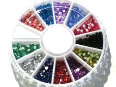 Glitter Jewel Nail Art Tip Decoration Wheel--Rhinestone Round *** For more information, visit image link.