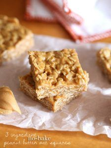 3 Ingredient No Bake Peanut Butter Oat Squares can be thrown together in just minutes. These easy oatmeal bars are so simple, and the best snack! Yummy Treats, Delicious Desserts, Yummy Food, Sweet Treats, Dessert Bars, Easy Oatmeal Bars, Oatmeal Squares, No Bake Desserts, Dessert Recipes