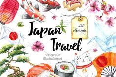 Watercolor set of Japan by Vikeriya on @creativemarket