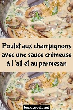 Mushroom Chicken with Creamy Garlic Parmesan Sauce - Many people think that eating healthy means not eating delicious food, which is a misconception. Healthy Egg Recipes, Cooking Recipes, Creamy Garlic Parmesan Sauce, Mexican Breakfast Recipes, Diner Recipes, Mushroom Chicken, Yum Yum Chicken, Keto Chicken, Recipes