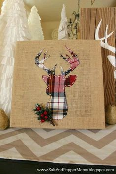 Christmas decor ideas. Canvas. DIY Reindeer.