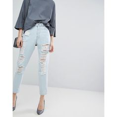 Dr Denim Nora Mom Jean with Rips and Abrasions ($76) ❤ liked on Polyvore featuring jeans, blue, blue skinny jeans, distressed jeans, blue jeans, blue ripped skinny jeans and destroyed skinny jeans