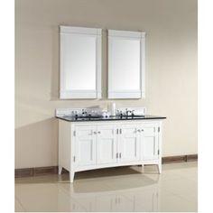 "Bathroom Vanities :: 60"" or more :: James Martin Furniture-900-V60D-PWH-ABK 60"" North Hampton Double Sink Bathroom Vanity Granite Top"