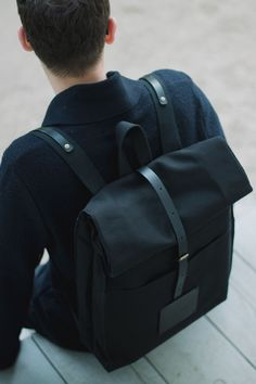 Top Roll Rucksack Black