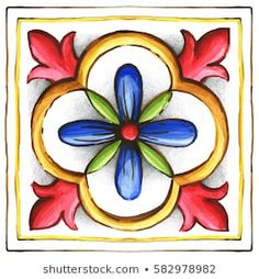 Ilustración de stock sobre Ornaments On Tiles Watercolor Spain Italy 582978982 Pottery Painting, Ceramic Painting, Mandala Art, Tile Art, Tiles, Beach Quilt, Beautiful Flowers Wallpapers, Italian Pottery, Mexican Designs