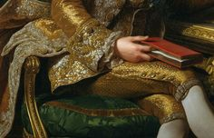 Gold and silver metallic thread lavishly embroidered and brocaded Frockcoat with gold buttons; matching gold breeches with five breeches buttons, brocade knee bands and diamond encrusted knee buckles. Detail from King Gustav III of Sweden and his Brothers, 1771 by Alexander Roslin