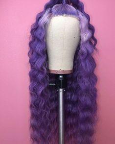Purple Wig, Hair Color Purple, Wig Styles, Curly Hair Styles, Natural Hair Styles, Pretty Hair Color, Colored Wigs, Human Wigs, Barbie Hair