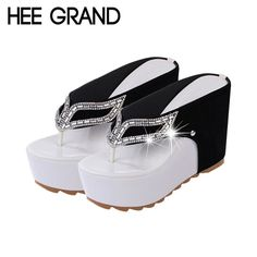 HEE GRAND Brand Thick Bottom Platform Flip Flops Rhinestone Wedge Heel Shoes Patchwork Woman Summer Sandals XWZ1953  #model #stylish #hair #cute #style #makeup #purse #outfit #outfitoftheday #fashion #beauty #beautiful #jennifiers #styles #jewelry