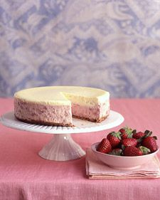 This dessert is proof that cheesecake can be as unexpected as it is delicious. Its surprise comes when intense oven-roasted strawberries are folded into a blend of tangy mascarpone and cream cheese. The mixture is spread over a graham cracker crust and covered with a rich vanilla layer. The result will please on every level.