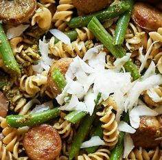 Whole Wheat Pasta with Chicken Sausage, Pesto, and Green Beans. http://www.surlatable.com/product/REC-266465/Whole+Wheat+Pasta+with+Chicken+Sausage,+Pesto+and+Green+Bean
