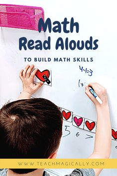 There is never enough time in the day to get ll lthe curriculum into a day so use engaging math books during read aloud time build vocabulary and math skills at the same time. Perfect for all preschool, kindergarten, and first grade. There are video links and ways to purchase the books for math read alouds. Check out this informative blog post. #preaschool #kindergarten #literacycounts #literacy #numbersense Guided Reading, Teaching Reading, Teaching Math, Teaching Ideas, Special Education Math, Primary Education, Reading Resources, Math Resources, Math Skills