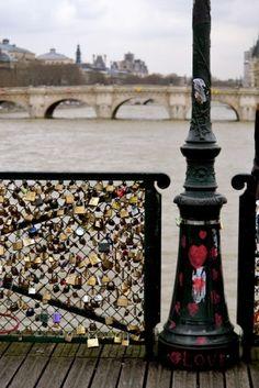 The love-locks bridge in Paris