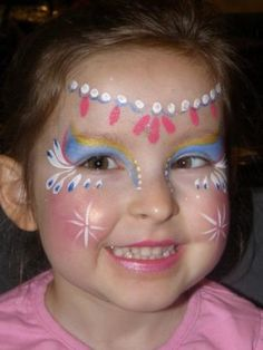 Face painting is, applying a design to the face, usually children's faces, using brushes and paints. These face painting ideas would help on festivals and parties. - Page 6 Princess Face Painting, Girl Face Painting, Face Painting Designs, Painting For Kids, Face Paintings, Painting Patterns, Halloween Face Paint Designs, Simple Face, Too Faced