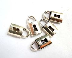 5 Antique Silver Padlock Keyhole Charms by TreeChild1 on Etsy