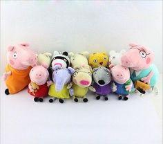 Peppa Pig Family Plush Toy & Friend + Grandpa & Grandma Pig + Dinosaur + Bedtime #Peppa