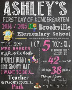 Personalized 1st Day of Kindergarten Chalkboard  by sewingnetwork, $12.99