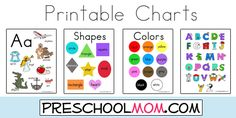 Free Preschool Printables Charts - Our full page colorful  charts are perfect for the home or classroom settings.  Hang them on the walls around children's desks, or punch  holes in the sides and add them to their notebooks. You might even use them to create a mini-office!