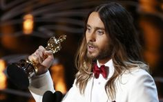 Jared Leto, best supporting actor winner for his role in Dallas Buyers Club, speaks on stage at the 86th Academy Awards in Hollywood, California