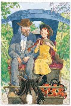Anne of Green Gables, illustrated by Debra McFarlane Anne driving to Green Gables with Matthew Cuthbert by the lake of shinning waters