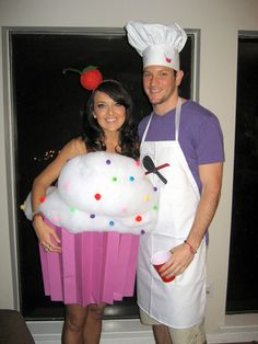 love this idea. couples costumes. baker and cupcake, but G would be the cupcake and I would be the baker...haha