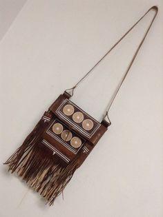 Moroccan Tribal  Handstiched Tooled Brown Leather Tassel Boho Bag  #Handmade #BOHO