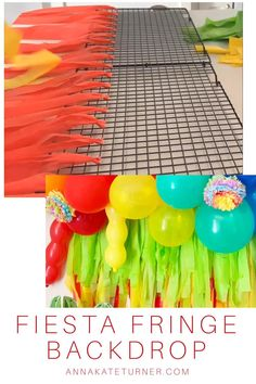 This fiesta themed fringe party backdrop is an easy and inexpensive DIY that brings color and fun to your party decor. This fiesta themed fringe party backdrop is an easy and inexpensive DIY that brings color and fun to your party decor. Fiesta Party Decorations, Fiesta Theme Party, Luau Party, Birthday Party Decorations, Rio Party, Streamer Decorations, Mexican Birthday Parties, Mexican Party, First Birthday Parties