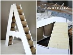 DIY Deko-Buchstabe Wie ihr vielleicht schon gemerkt habe bin ich ein großer F. DIY Deco Letter As you might have noticed, I'm a big fan of everything that has to do with letters, letters or numb Cardboard Letters, Diy Letters, Cardboard Crafts, Diy Wedding Supplies, Diy Birthday Decorations, Creation Deco, Craft Storage, Diy Party, Diy For Kids