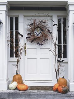 A batty Halloween front door