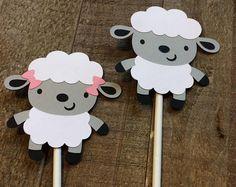 Cordero bebé oveja Cupcake Topper cumpleaños bebé ducha Decor Decoración género revelan