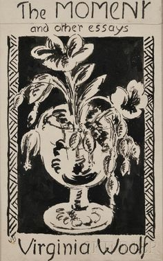 Cover design (pencil & gouache) by Vanessa Bell for her sister Virginia Woolf's book The Moment and Other Essays. Cover printed on pink paper. Published in London c.1947.
