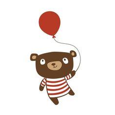 Birthday Bear 5 x 7 Childrens Art Print by milkandcookies on Etsy, $20.00