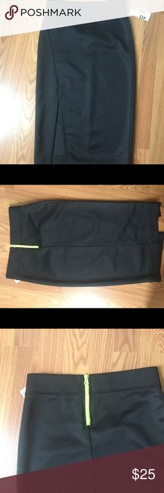 Neoprene high slit skirt! Super chic high waisted neoprene skirt with high thigh slit. Great neon green zipper in back that gives it pop of color! Never worn, with tags. kind of Skirts Pencil