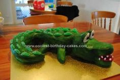 My son wanted a Crocodile Birthday Cake for his 2nd birthday. I put together a few different ideas, some from this site and from another.  I used a bunt