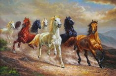 "Art Print Animals Eight Horses oil painting Picture Printed on canvas 16""x24"" in Art, Art from Dealers & Resellers, Paintings 
