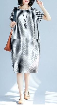 Details about Women Loose Dress Kaftan Pocket Tunic Long Sleeve Casual Short Dresses Women loose fit pocket dress checkered tunic short sleeve large size casual chic Trendy Dresses, Casual Dresses For Women, Plus Size Dresses, Nice Dresses, Dress Casual, Casual Shoes, Casual Outfits, Casual Jeans, Loose Dresses