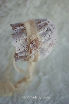 baby bonnet with removable tieback, simply from vintage lace, newborn Photo prop, baby hat, vintage girl