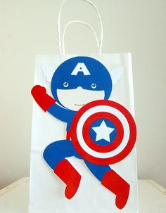 Captain America Party Favor Goody Gift Bags by CraftyCue on Etsy