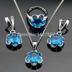 Good price Christmas Gift Flower Blue Cubic Zirconia Silver Color Jewelry Sets For Women Pendant/Necklace/Earrings/Rings Free Jewelry Box just only $7.01 with free shipping worldwide  #weddingengagementjewelry Plese click on picture to see our special price for you