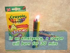In an emergency, a crayon will burn for 30 mins.