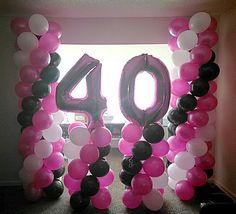 40th Birthday Party Columns Anointed Balloons by Design