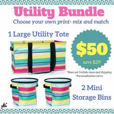 Ready to save money??!!! Of course you are!! Check out this bundle! I just ordered my bundle!!! A Large utility tote for our family beach stuff and a summer fun-filled bin for each boy!!! And because its such a good deal used the money I saved to personalize each!!!! Whoo hooo! #Isithereyet #organizedforsummer #beachtotes #organizedchaos