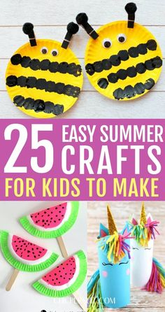 diy crafts for kids homemade 25 Fun Easy Summer Crafts For Kids To Make At Home At Home Crafts For Kids, Summer Crafts For Kids, Summer Diy, Toddler Crafts, Preschool Crafts, Projects For Kids, Diy For Kids, Kid Crafts, Diy Projects To Do At Home