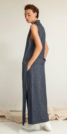 Look 24: Sensei Duster Sleeveless Coat in Ink // Crossover Trouser in Sake