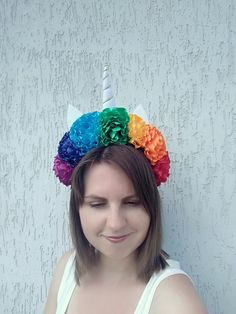 Rainbow headdress for women Unicorn headband LGBT pride accessory head  piece Adult headpiece Rainbow festival flower crown bb3283724641