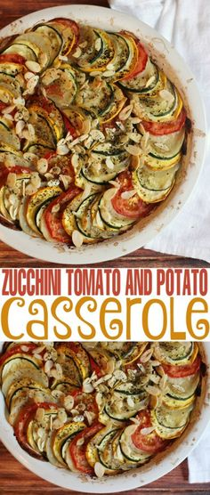 Harvest from your summer garden and make this delicious Zucchini, Tomato and Potato Casserole recipe! It's a perfect summer side dish for veggie lovers!