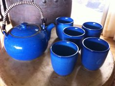 Cobalt blue Japanese tea set.