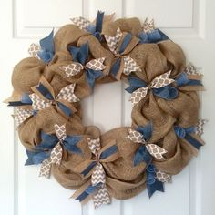 The Burlap & Chambray Denim Wreath has that country farmhouse feel. Rustic burlap is the perfect backdrop to the clean contrast of the chambray blue, chevron & quatrefoil ribbons . The perfect piece f Burlap Projects, Burlap Crafts, Wreath Crafts, Diy Wreath, Diy And Crafts, Wreath Burlap, Wreath Ideas, Ribbon Wreath Tutorial, Rustic Wreaths