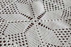 Vintage 1940s Crochet Tablecloth or Throw With by thewingthing