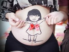 lovely baby girl on pregnant belly -ddgh