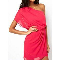 Stylish Short Sleeve One-Shoulder Chiffon Solid Color Women's Dress